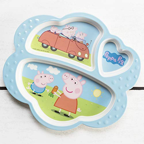 Zak Designs Peppa Pig Kids Dinnerware Set Includes Melamine 3-Section Divided Plate and Utensil Tableware, Made of Durable Material and Perfect for Kids (Peppa Pig, 3 Piece Set, BPA-Free)