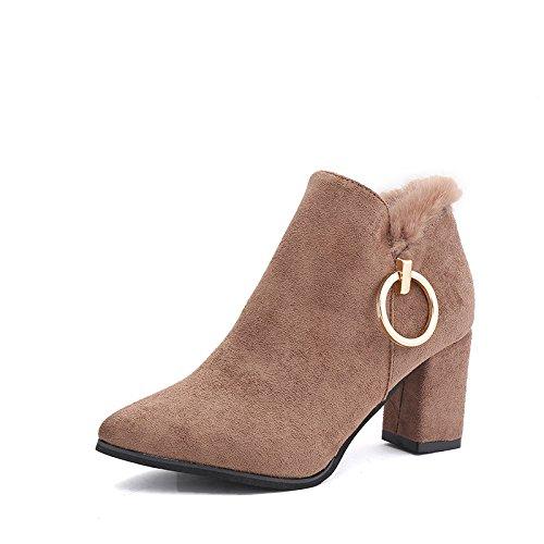AGECC Damen Damen Winter Herbst Damen Damen Damen Stiefel Britisch Blau Lässig Lässig Ferse Mode Stiefel Wildleder Spitzen Heels Kurze Zylinder Stiefel Viel Glück für Sie  64597f