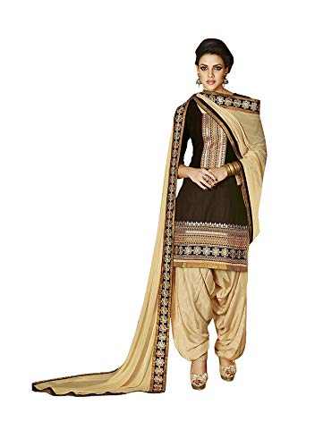 DreamAngel Women's Brown Cotton cambric Patiala Salwar Suit (Extra Large) ()
