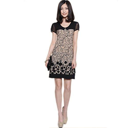OFTEN Fashion Korea Women's Short Sleeve Above Knee Length Loose Dresses,Black,X-Large