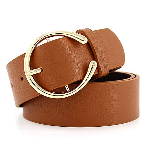 (CHICING Mid Rings Gold Buckle Belts for Women Faux Leather Belts for Jeans (One size, Brown))