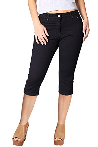 2LUV Women's Stretchy 5 Pocket Skinny Capri Jeans Black 11 - Petite Capri Pants