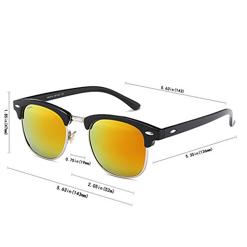 NIEEPA Semi Rimless Polarized Sunglasses Classic Metal Retro Rivets Sun Glasses … Red Lens/Bright Black Frame