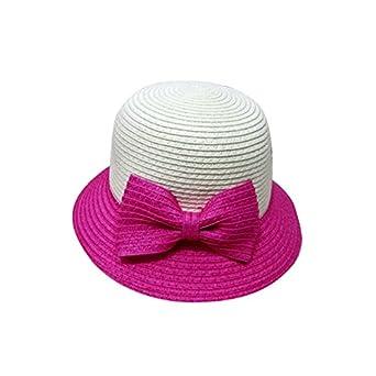ea2f852d2a786 Amazon.co.jp: こうのや 麦わら帽子 子ども用 ハット 帽子 つば付き 折りたたみ リボン付き 女の子 キッズ(ピンク) 濃ピンク   服&ファッション小物