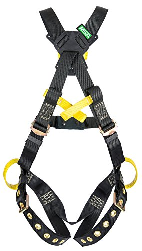 MSA 10162686 Workman Arc Flash Full Body Harness with Back and Hips Web Loop, Crossover, Tongue Leg Buckle, Belay Loops, Standard