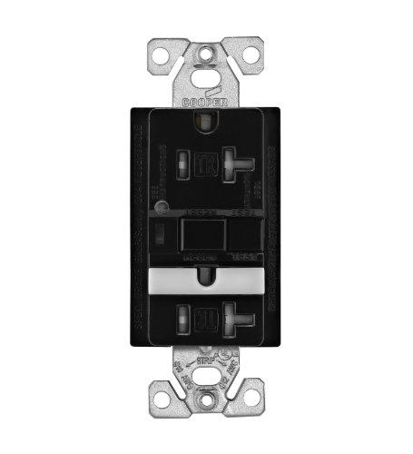 EATON Wiring TRVGFNL20BK Tamper Resistant 20-Amp Combination GFCI Receptacle with Nightlight, Black Finish
