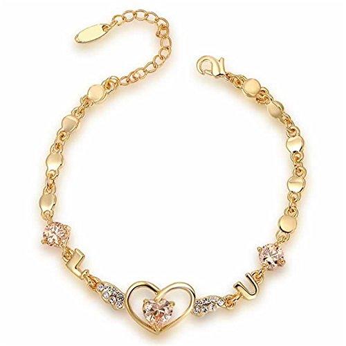 O4U Heart Shape Genuine Austrian Crystals Love You Gold Plating Bracelet Elegant Gifts for Women Girls Fashion Jewelry(gold) (Genuine Austrian Bracelet Crystal)