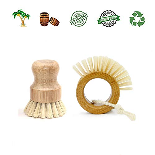 Plant Based Cleaning Brush Set, 2 Piece for Vegetable, and Kitchen Dish Cleaning, Sisal & Coconut Fibers with Bamboo Handles, Zero Waste & Biodegradable Kitchen Brushes(Circle)