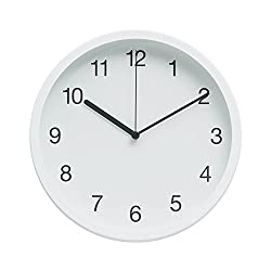 """Classic Modern Design 10"""" Non-Ticking Silent Wall Clock with Durable Finished Frame (Simply White)"""