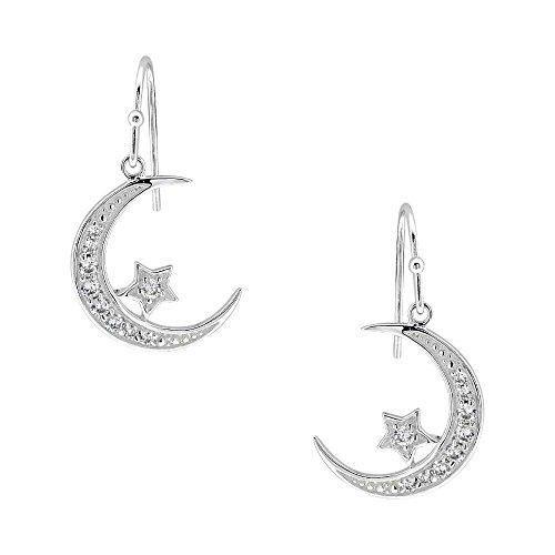 Moon Star Dangle Earrings Sterling Silver Cubic Zirconia stud for Women Jewelry (Cubic Zirconia Star Dangle)