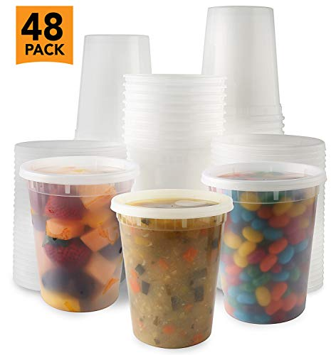 Plastic Deli Food Storage Containers With Leak-Proof Lids 48 Pack, 32 Oz   Microwaveable Airtight Container For Soups, Snacks, Meal Prep, Salad, Ice Cream   BPA-Free Kitchen & Restaurant Supplies (48)