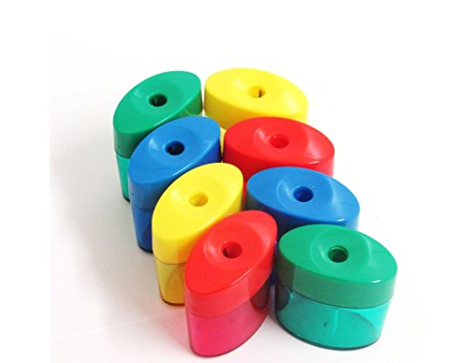 (Mega Set Of 48 Single Hole Triangular Shaped Pencil Sharpener With Cover and Receptacle! Comes In Red, Blue, Yellow, and Green Colors!)