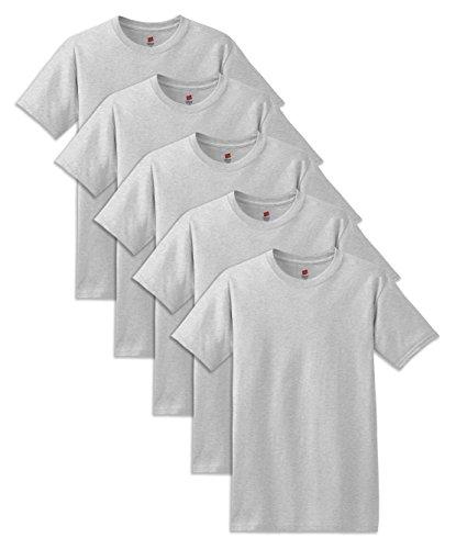 Hanes mens 5.2 oz. ComfortSoft Cotton T-Shirt(5280)-ASH-L-5PK