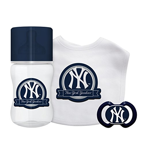 Official Licensed MLB Fan Shop Major League Baseball Team Baby Starter Set - Bottle, Bib Pacifier Set 3 Months and Up. Great for baby pictures (New York Yankees)