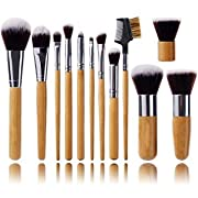 Amazon Lightning Deal 78% claimed: Jmkcoz 12pcs Makeup Brushs Makeup Applicator Professional Makeup Brush Set Kit with Bamboo Handle