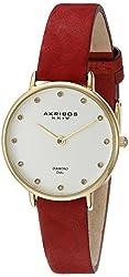 Akribos XXIV Women's AK882 Round Silver Dial Two Hand Quartz Gold Tone Strap Watch