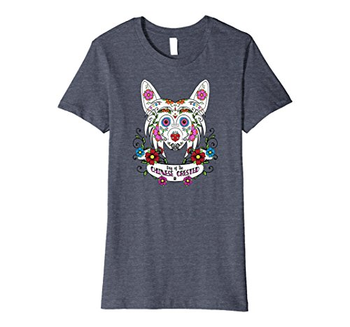 Hairless Chinese Crested - Womens Chinese Crested T Shirt - Sugar Skull Large Heather Blue