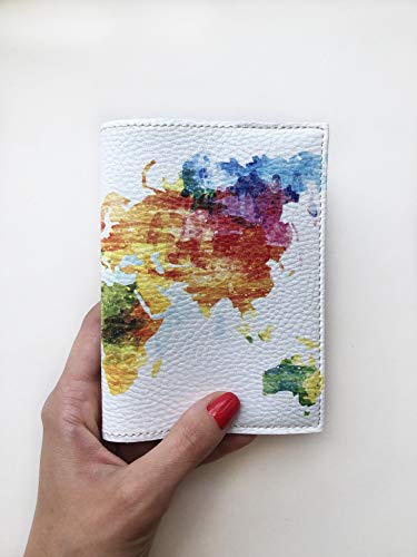 Map of World Passport Holder eco leather cover colorful watercolor designer case for documents (Passport Cover For Women)