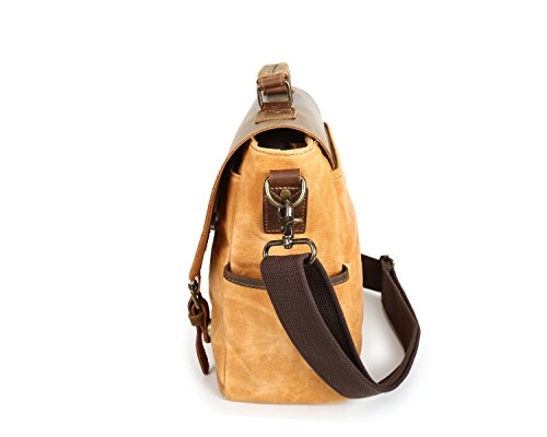 Borsa Olio Messenger arancione impermeabile Retro Messenger Uomo cera Leather bags pelle in Scsy Crazy di Messenger Classico Bag Canvas xCrQtdsh