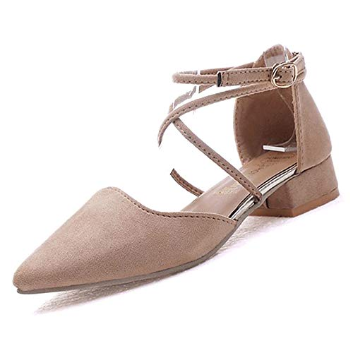ZHZNVX Zapatos de Mujer PU (Poliuretano) Primavera y Verano Zapatos de tacón bajo Bloque Hebilla del talón Negro/Beige Beige