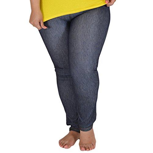 Stretch is Comfort Women's Cotton Plus Size Leggings Dark Denim 3X