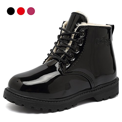CIOR Boy's Girl's Waterproof Winter Warm Ankle Boots Lace-Up Cute Casual Shoes(Toddler/Little Kid)-Black.28 (Cute Childrens Shoes)