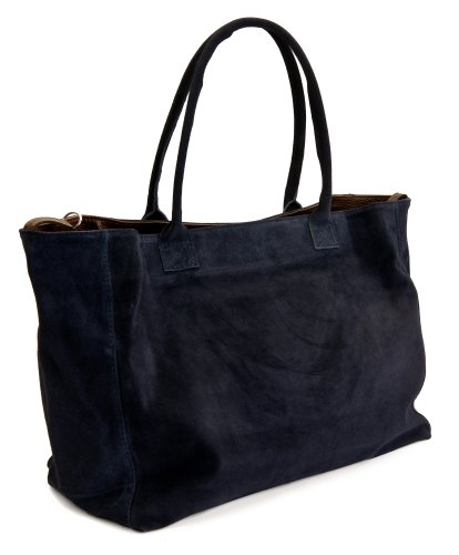 DELARA Capiente borsa shopper inpelle scamosciata, Made in Italy. Colore: nero