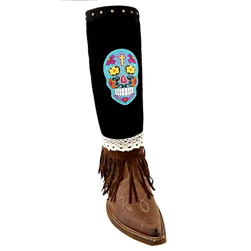 Suede Lace Design Fashion Boot Cover Cuff Warmer (Sugar Skull Patch-Black)