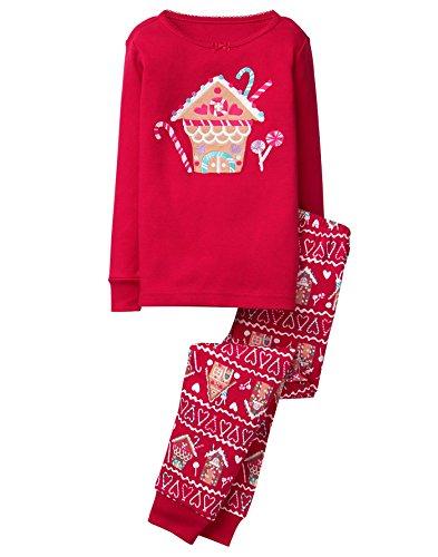 Gymboree Baby Girls 2-Piece Tight Fit Long Sleeve Pajama Set, Red, 6-12 Mo