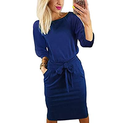 Short/Long Sleeve Dresses for Women Elegant Lantern Sleeve Ladies Casual Pencil Dress with Belt at Women's Clothing store
