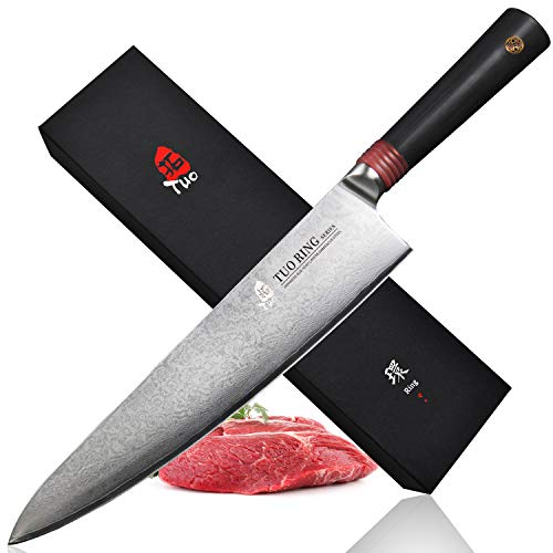 "TUO Cutlery Chef Knife- Damascus Kitchen Chef's Knives - Japanese AUS-10 HC Stainless Steel Cutting Core Blade - Rose Damascus Pattern - G10 Handle - Gift Box - Ring-RC Series -9.5"" TC0307RC"