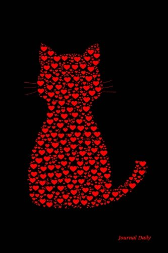 Journal Daily: Red and Black Kitty Hearts,  Lined Blank Journal Book,150 Pages,6