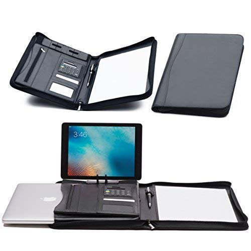 ippered Organizer, Business Portfolio Folder & Case, 13 Inch Laptop Sleeve and Ipad Stand Bonus: Writing Pad, Calculator and Ballpoint Pen ()