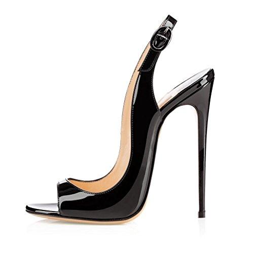 Heels Peep Sammitop Pumps Ankle Toe Sandals Heeled Slingback Black Stilettos High Sandals Strap Women's S5XXwxFqZ