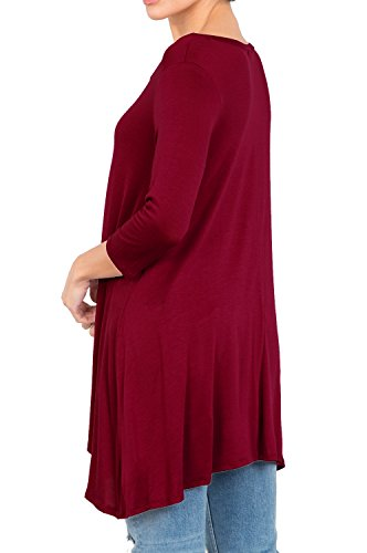 Love In T2411 3/4 Sleeve Round Neck Relaxed A-Line Tunic T Shirt Top Burgundy S by Love In (Image #6)