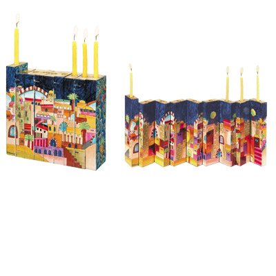 Yair Emanuel Multicolor Accordion Menorah with a Scene of Jerusalem in Wood by World Of Judaica