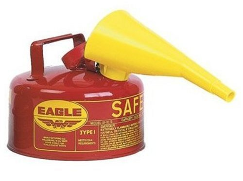 Eagle UI-10-FS Red Galvanized Steel Type I Gasoline Safety Can with Funnel, 1 gallon Capacity, 8'' Height, 9'' Diameter