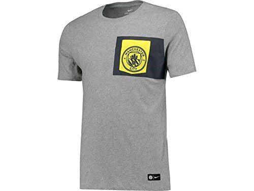 Nike Mens MCFC Manchester United Crest T-Shirt Dark Grey/Tour Yellow 832670-063 Size Small