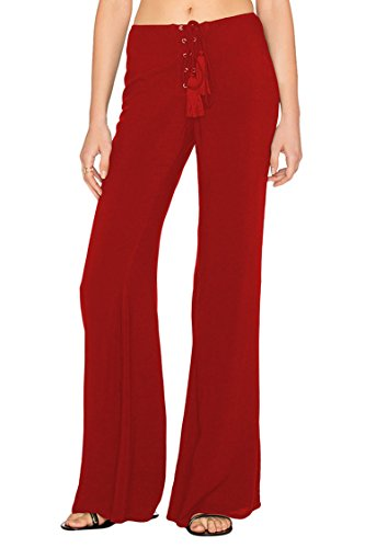 Lace Up Sailor Pants - COCOLEGGINGS Ladys Eyelet Lace-up Mid Rise Slim Boot Cut Stretch Pants Red XL