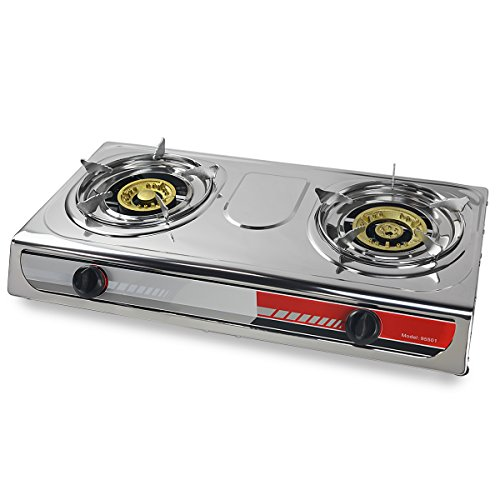 XtremepowerUS Portable Propane Gas Range 2-Burner Stove Cooktop Auto Ignition Outdoor Grill Camping Stoves Tailgate LPG