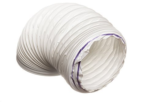 3 metre PVC (Plastic) Flexible White Ducting, Condenser Tumble Dryer Ventilation Cooker Hood Venting Hose 102mm Diameter For 100mm Ducting Verplas