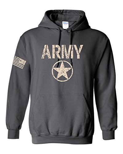 - US Army Star Logo With Flag On Sleeve Hoodie - Med Charcoal (ATA1453)