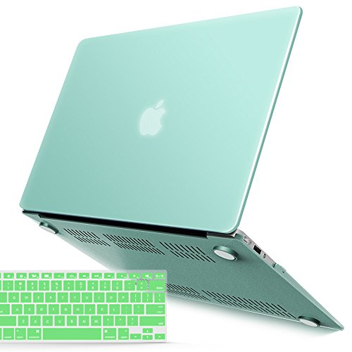 iBenzer MacBook Air 13 Inch Case, Soft Touch Hard Case Shell Cover with Keyboard Cover for Apple MacBook Air 13 A1369 1466 NO Touch ID, Mint MMA13GN+1A
