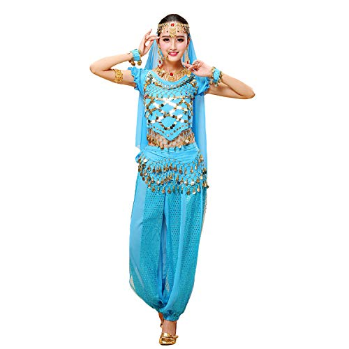 Maylong Womens Short Sleeve Belly Dancing Outfit Halloween Costume DW79 (Sky Blue) -