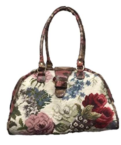 - Clever Carriage Company Handmade Hand Needlepoint Roses Satchel with Snake Embossed Trim