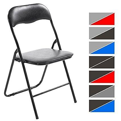CLP Silla Plegable Felix con Estructura de Metal I Silla de Conferencia Acolchada I Silla de Eventos Plegable I Color: Negro/Negro