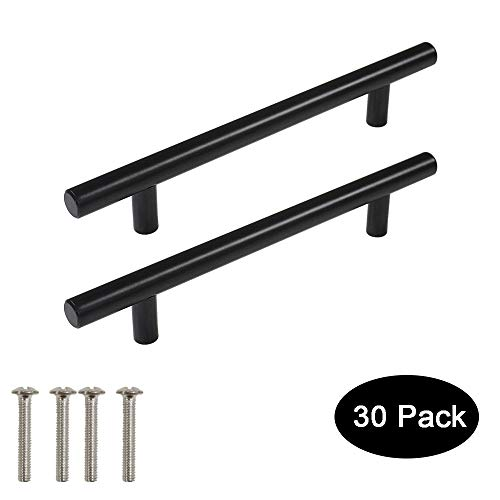 30 Pack Probrico Black Stainless Steel Kitchen Cabinet Door Handles T Bar Drawer Pulls Knobs Diameter 1/2 inch Hole Centers:5inch-7-1/2inch Length ()