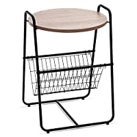 Garwarm Round Side Table End Table Nightstand with Metal Storage Basket, Modern Studio Collection, 17.8 × 17.8 × 25.6 in(LWH)