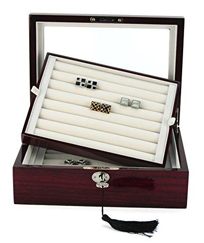 72 Cufflink Ring Storage Box Cuff Links Mens Jewelry Display Wood CASE 412172 ()
