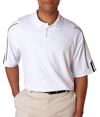 Adidas Men's 3-Stripes Contrast Piping Polo Shirt, White/Black, - Contrast White Piping